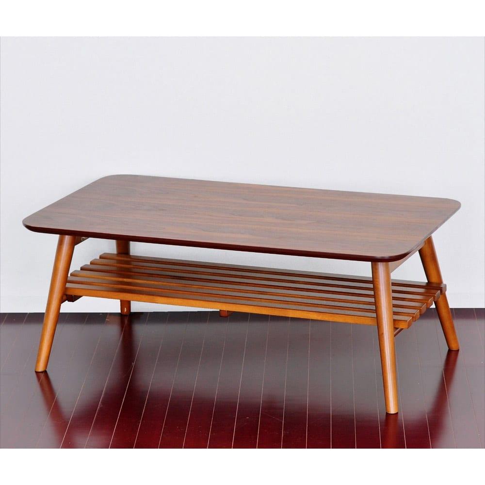 Sereno/セレノ 棚付き折れ脚テーブル(VT40110T) (イ)ブラウン