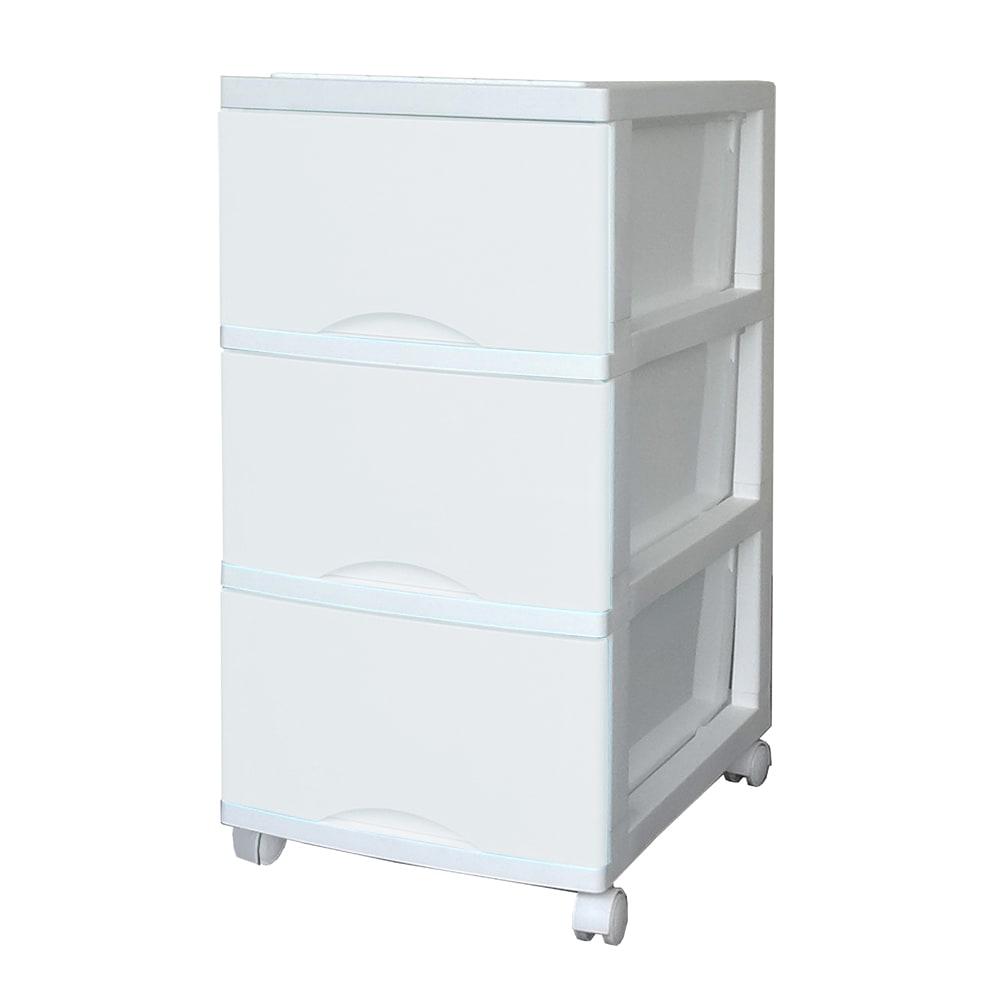 省スペース衣類収納チェスト (オ)ミルクホワイト3段