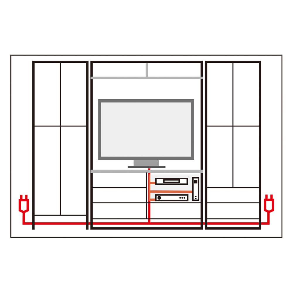 小さなリビングにきちんとおさまるコンパクト壁面収納 収納庫 テレビ台 幅140cm 【内部に隠してスッキリ配線】電源コード類は各アイテムの内部を通す構造。収納棚を設置した後からでも配線が可能で、外部に露出せずスッキリとスマートに整理できます。