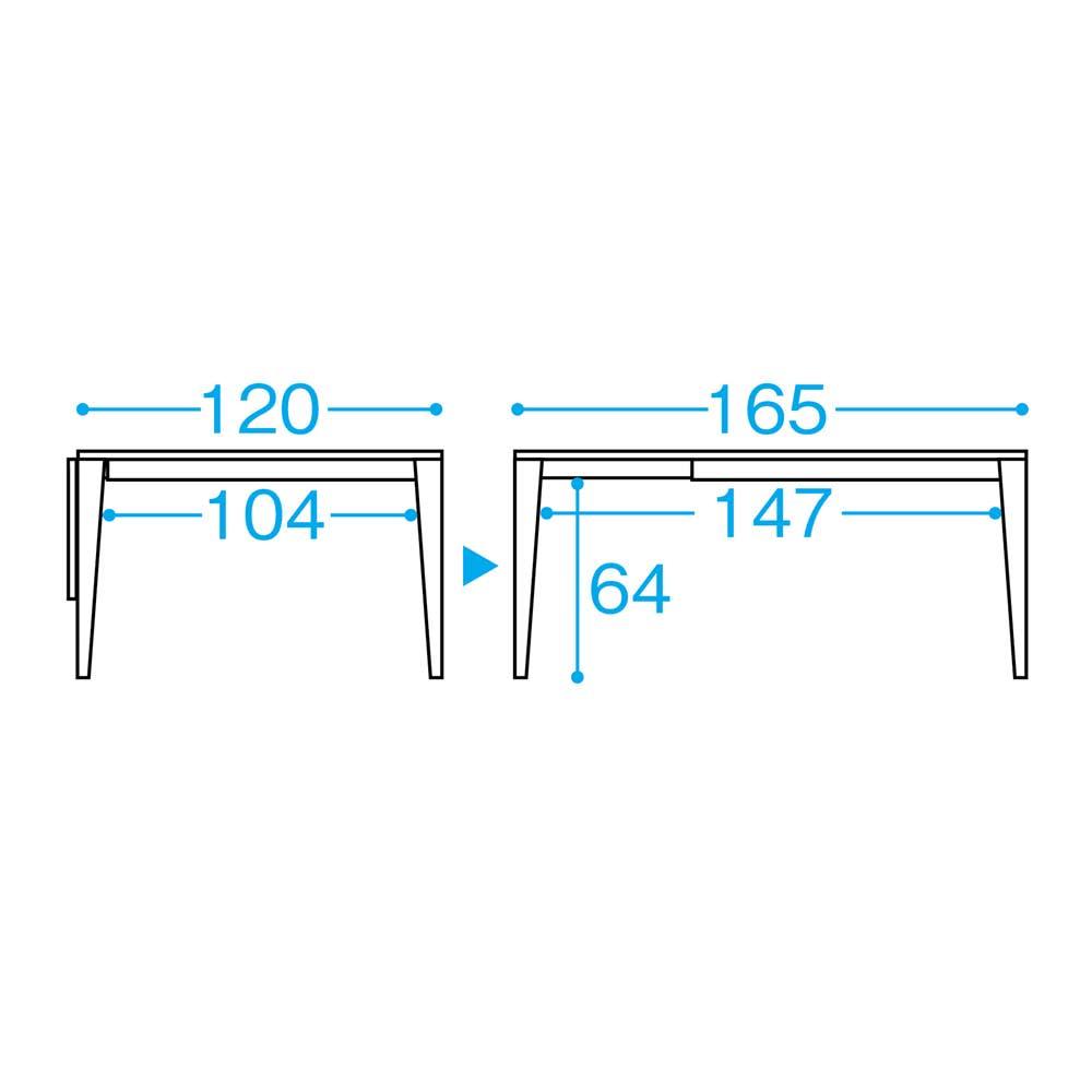バタフライ伸長式ダイニング 5点セット(バタフライテーブル幅120~165cm+チェア2脚組×2) サイズ詳細