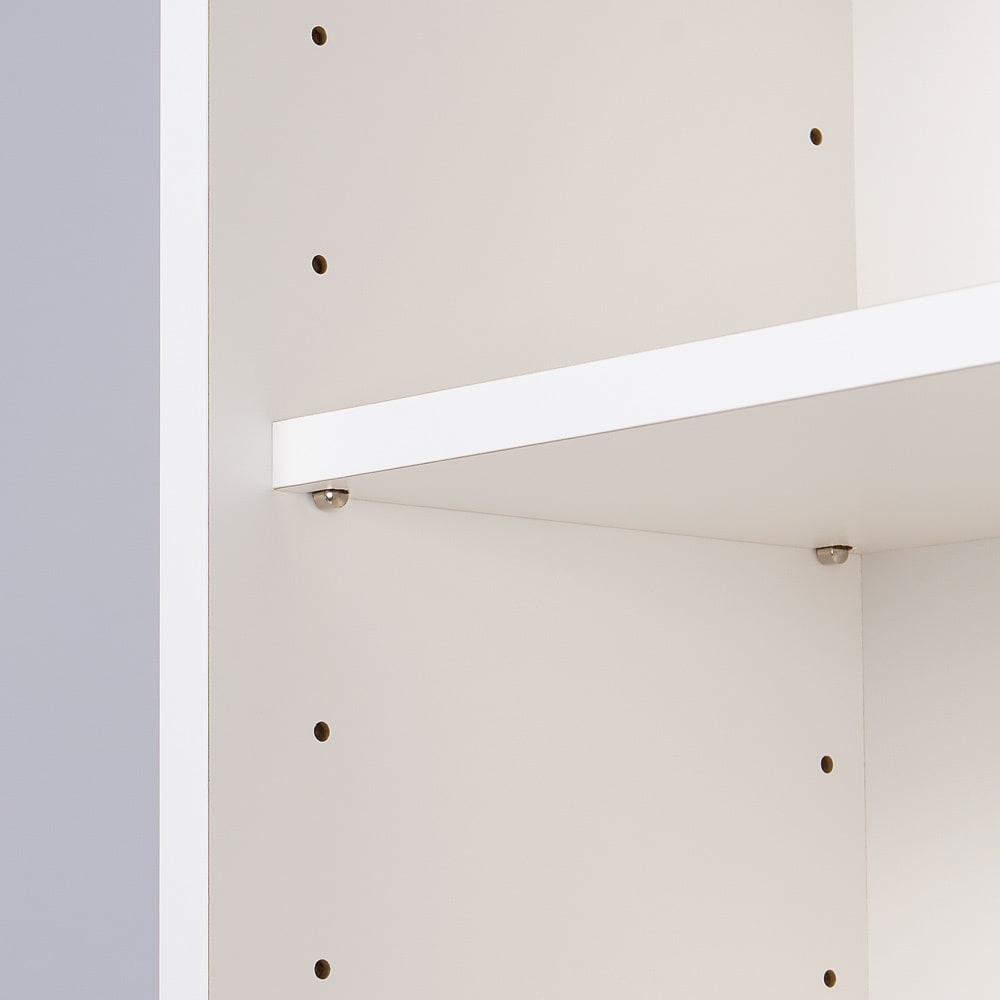 収納物の見やすいガラス戸カウンター下収納庫 ラック 幅44奥行22cm 可動棚板は6cm間隔で調節が可能です。