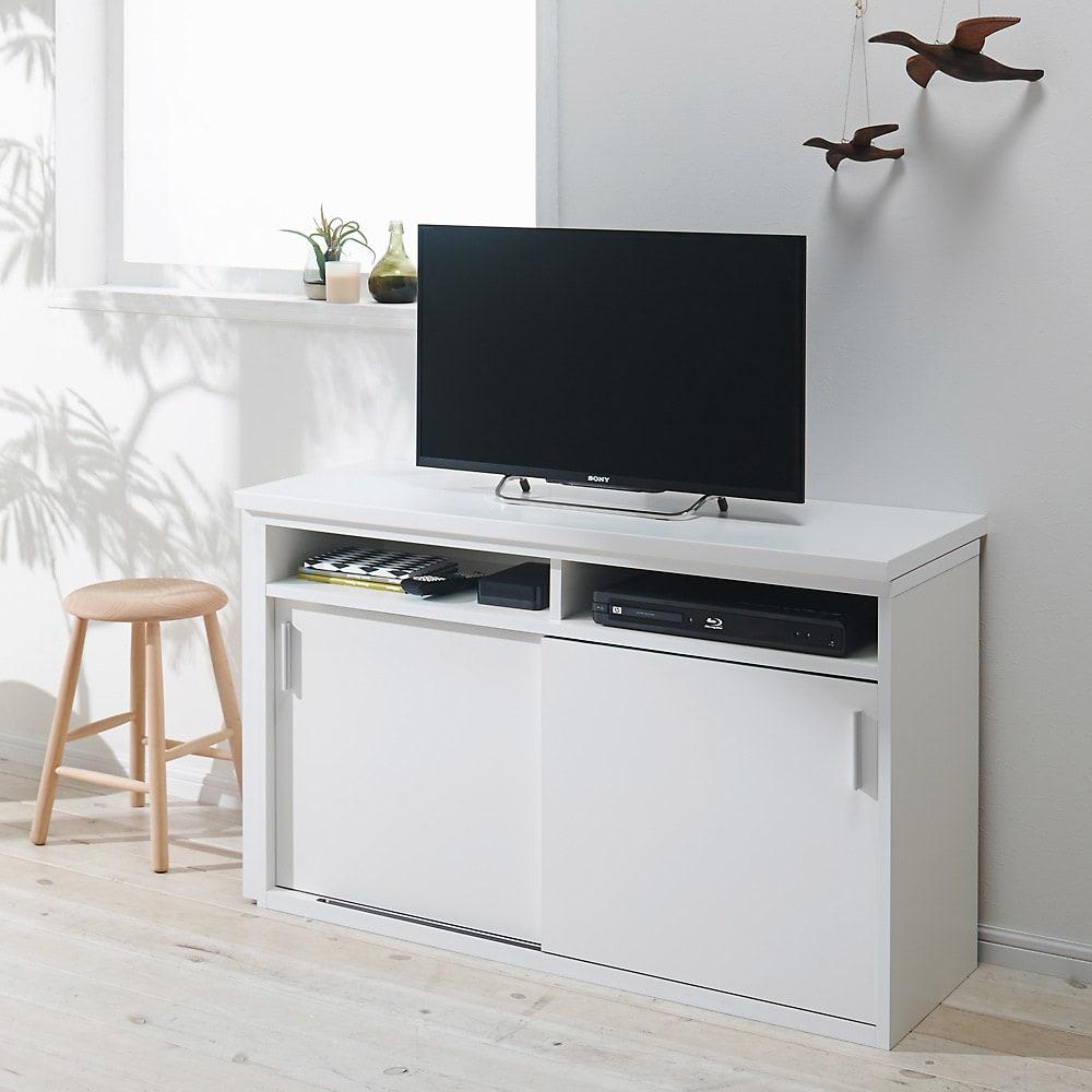 伸縮デスク&テレビ台 幅120~200cm 伸縮時使用イメージ(イ)ホワイト左デスク