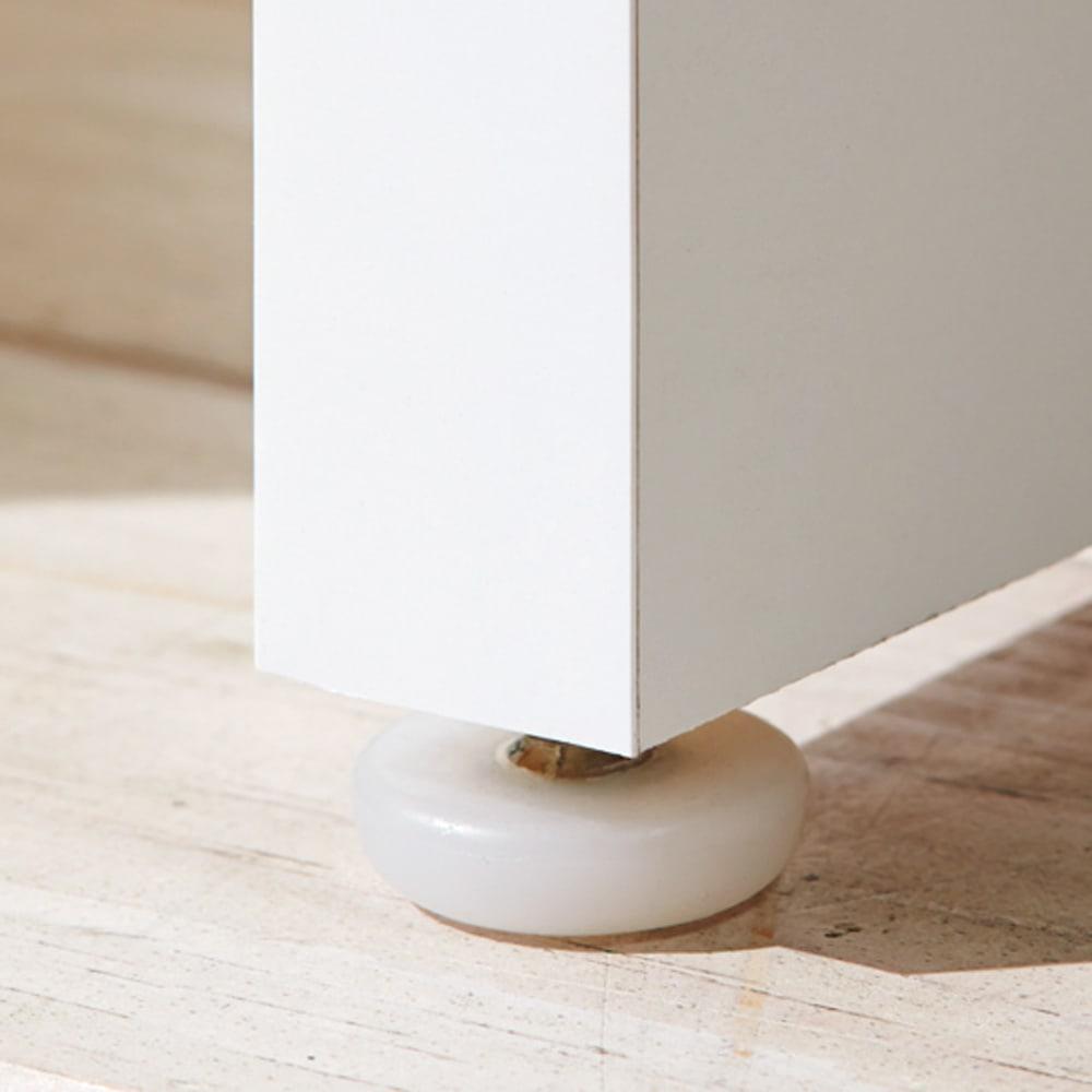 伸縮デスク&テレビ台 幅120~200cm デスク伸長側の脚部にはアジャスターが付いています。