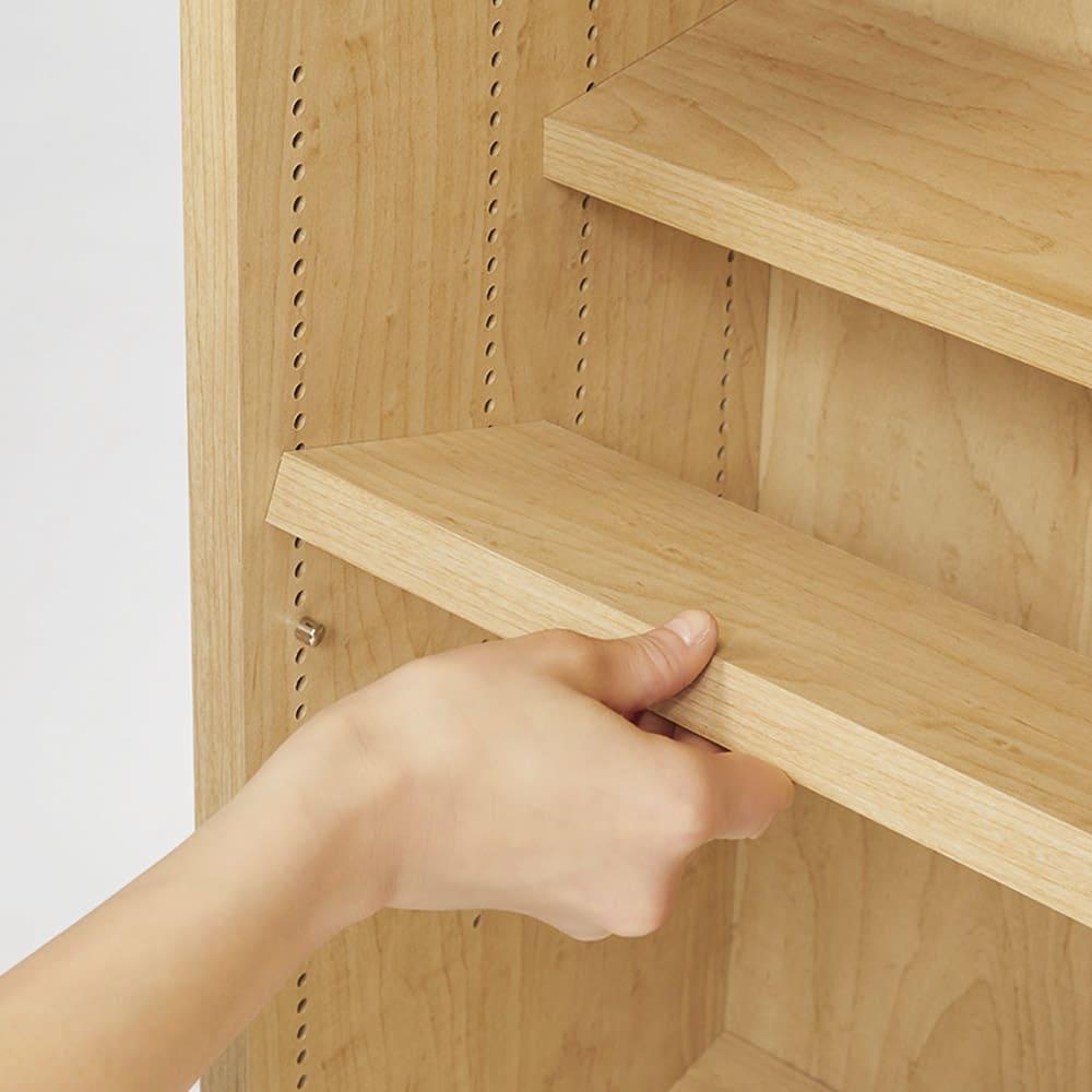 本を効率的収納!薄型段違い棚付き本棚(幅60cm高さ85cm) 棚板は1cm間隔できめ細かく調節可能。