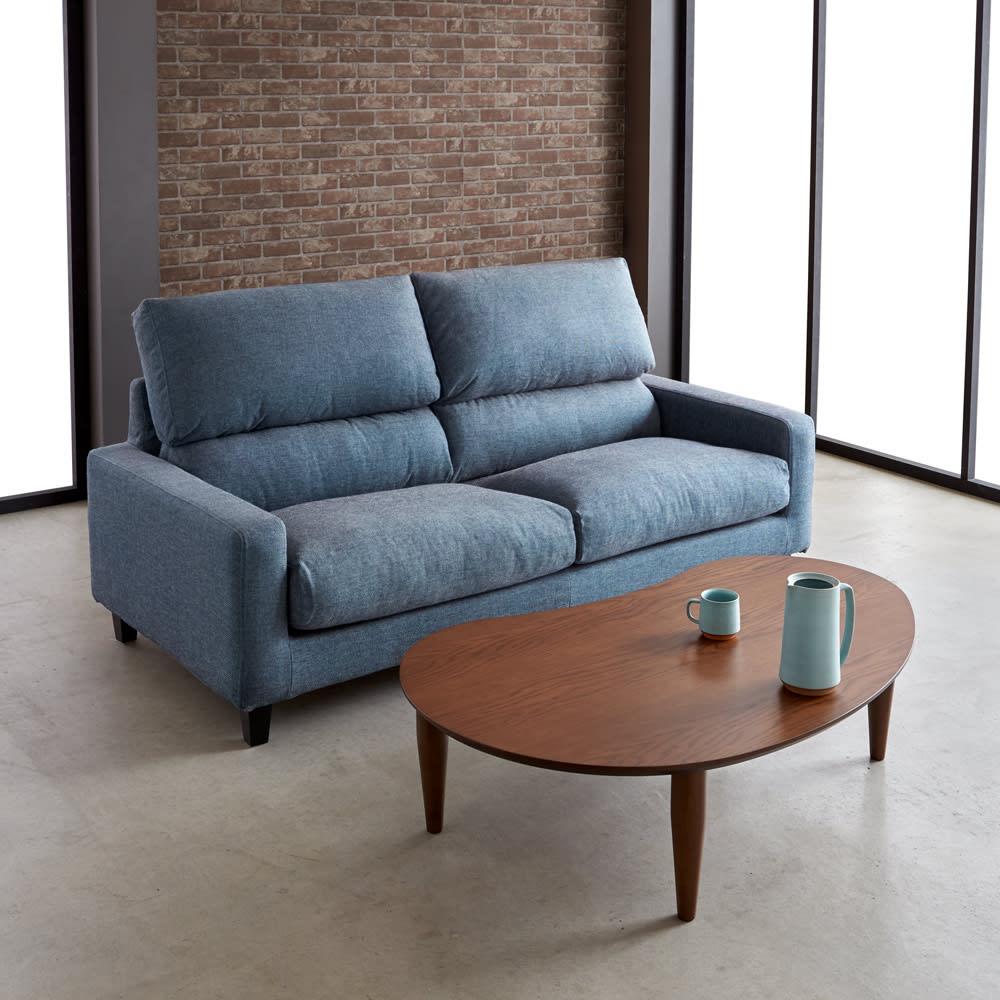 ビーンズ型(豆型) 折れ脚座卓 幅120cm 座卓としても、ソファーと合わせてセンターテーブルとしてもおすすめ。(イ)ダークブラウン