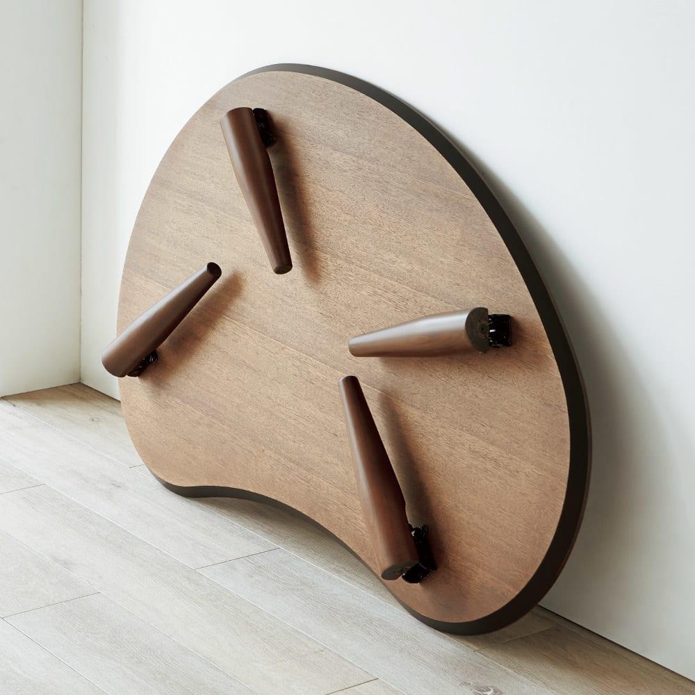 ビーンズ型(豆型) 折れ脚座卓 幅120cm 折れ脚式なのでコンパクトに収納できます。