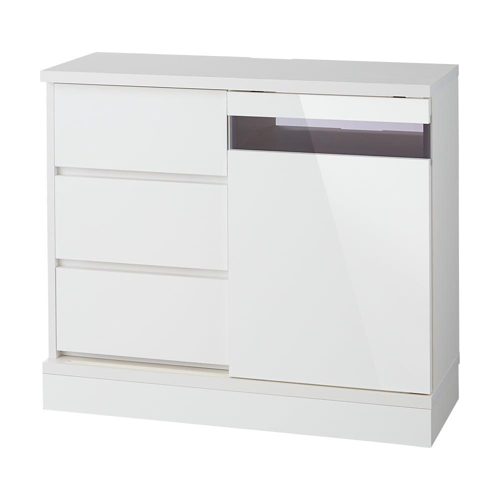 光沢引き戸テレビボード テレビ台 幅89cm (ウ)ホワイト