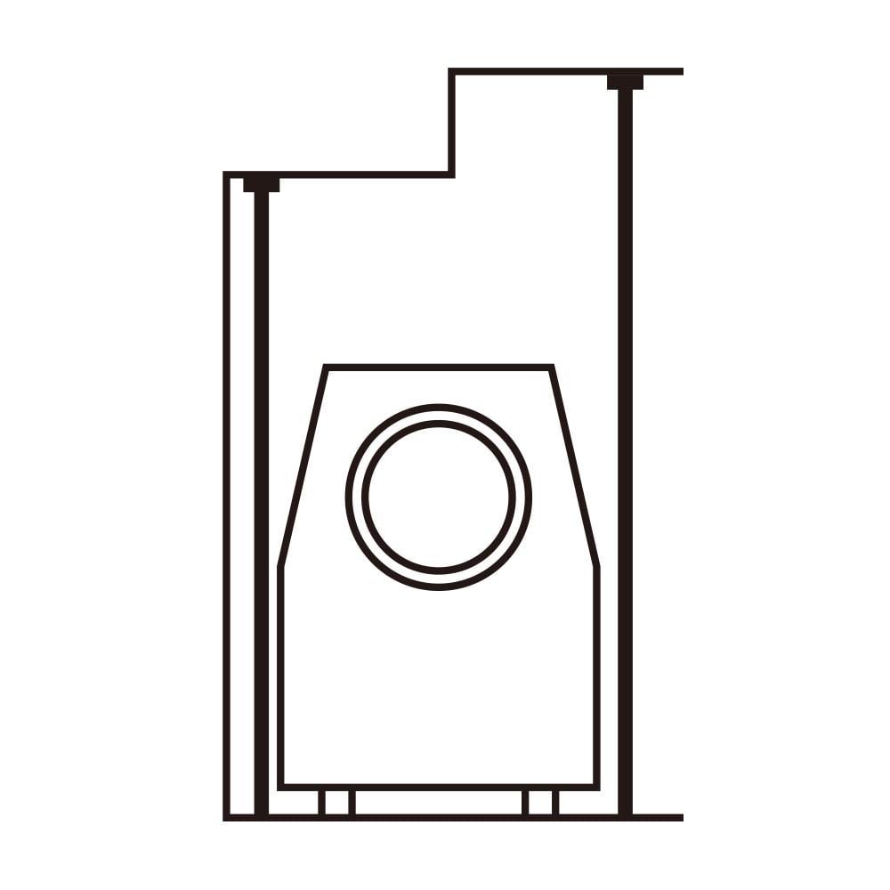 防水パンの段差対応 突っ張りランドリーラック 棚3段 【天井の梁にも対応】