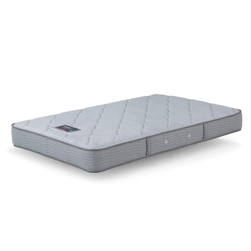 Simmons シモンズ フラット引き出しベッド 5.5インチ レギュラーマットレス(RG) 5.5インチ(約14cm)、コイル線径1.9mmのポケットコイルを使用。高さ約23cmから約14cmへ圧縮しています。 スプリングの上に入れる詰め物に頼らず、硬さは圧縮率が高く弾力性のあるスプリングで調節しています。