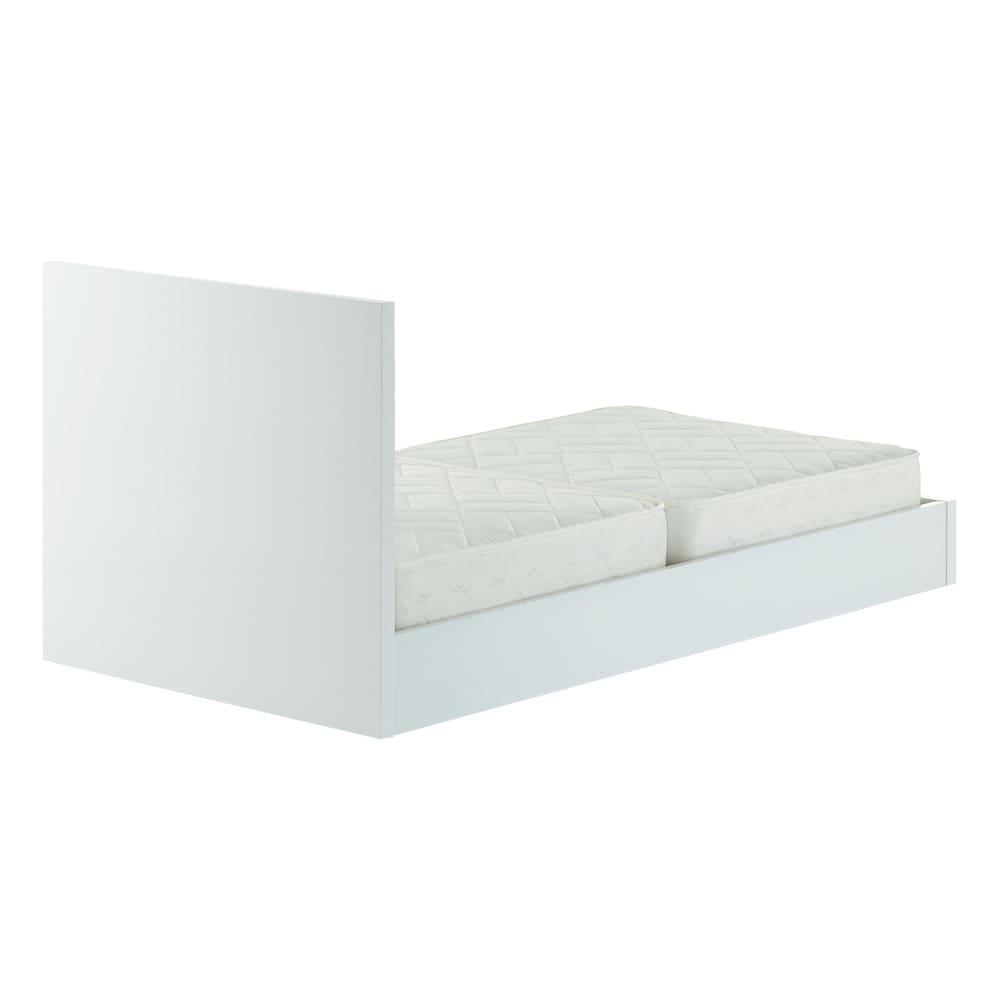 Bianco 光沢ベッド ベッドフレームのみ ホワイト 背面も表面と同様に光沢仕上げを施しています。