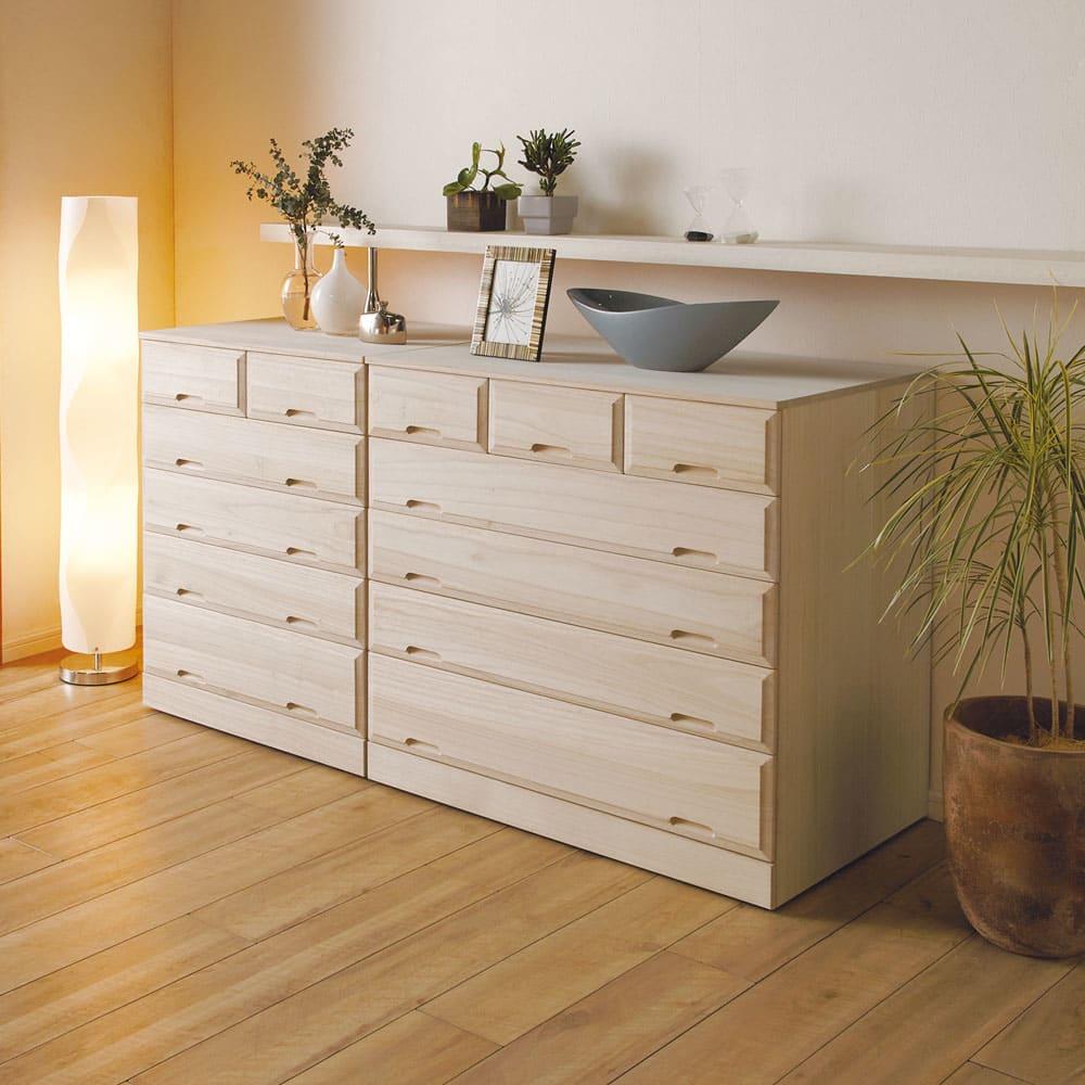 奥行60cmロング総桐クローゼットチェスト 幅75cm・4段(高さ75.5cm) 部屋置きしても美しいインテリア性。