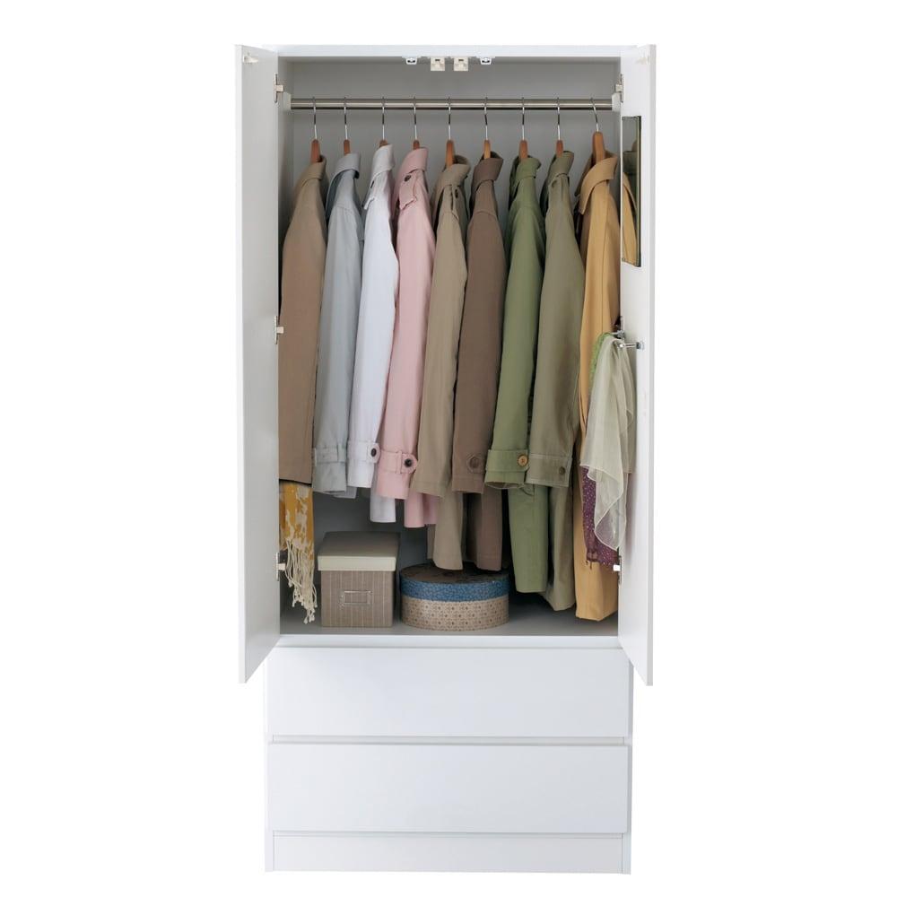 【日本製】いろいろ収納できるワードローブ ブレザー 幅80cm 洋服約14~24着収納可能。
