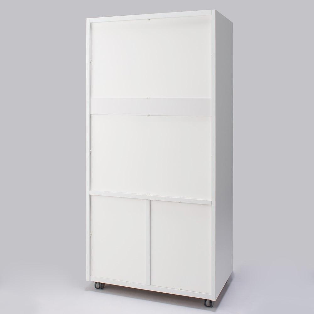 移動らくらく&大量収納 光沢引き戸クローゼット 幅150cm 背面も化粧仕上げなのでお部屋の間仕切りとしてもお使いいただけます。(一部背板留めが見えます)