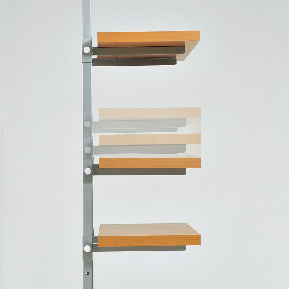 【無段階】棚板可動突っ張り式スペースラック 6段 ラック幅59.5cm 棚板は無段階スライド式で、好きな位置に調整できます。