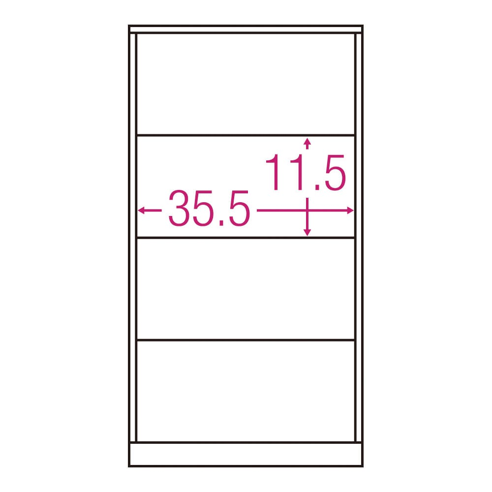北欧風モダンカウンター下収納庫 引き出し 幅45cm 内寸図(単位:cm)