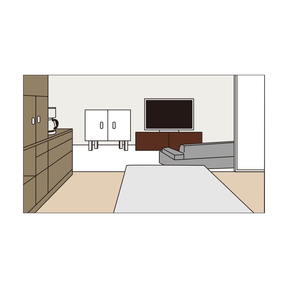 LDK壁面収納(高さ180cm) 扉・引き出しタイプ 幅58cm 長い時間を過ごす部屋こそ、過ごしやすさと見映えにこだわりたい。そんな想いを叶える収納シリーズ。ちぐはぐなインテリアになりがちだったリビングダイニングに美しい統一感を生み出します。