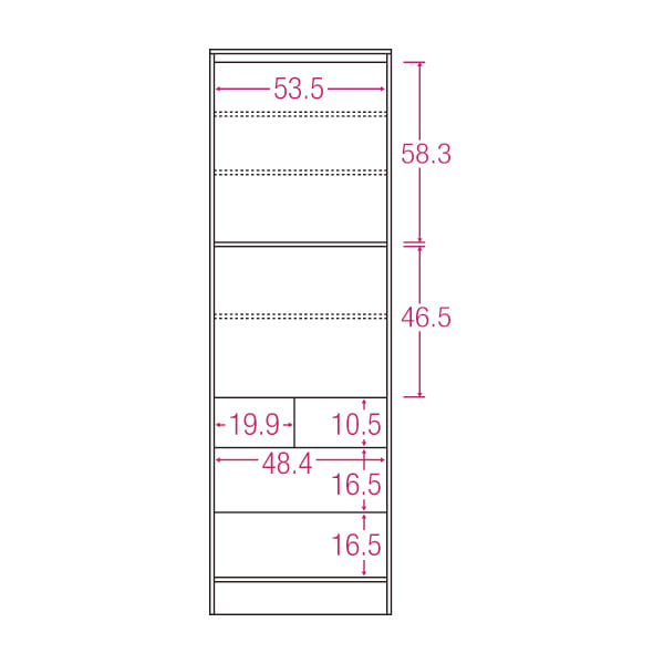 LDK壁面収納(高さ180cm) 扉オープン・引き出しタイプ 幅58cm 内寸図(単位:cm)