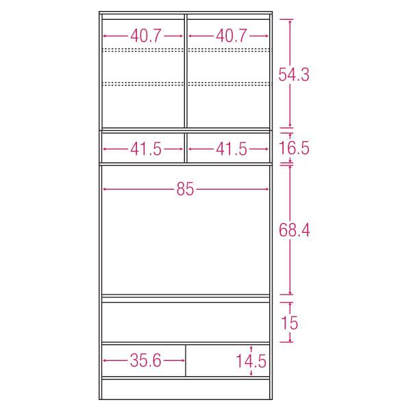 LDK壁面収納(高さ200cm) テレビ台 ミドル 幅89.5cm 内寸図(単位:cm)