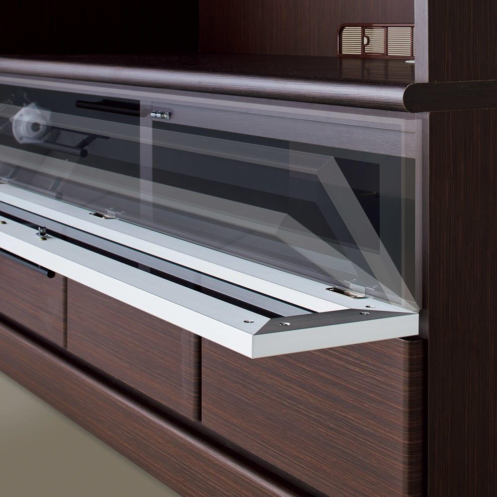 LDK壁面収納(高さ200cm) テレビ台 ミドル 幅89.5cm 扉はゆっくり開くダウンステー仕様。