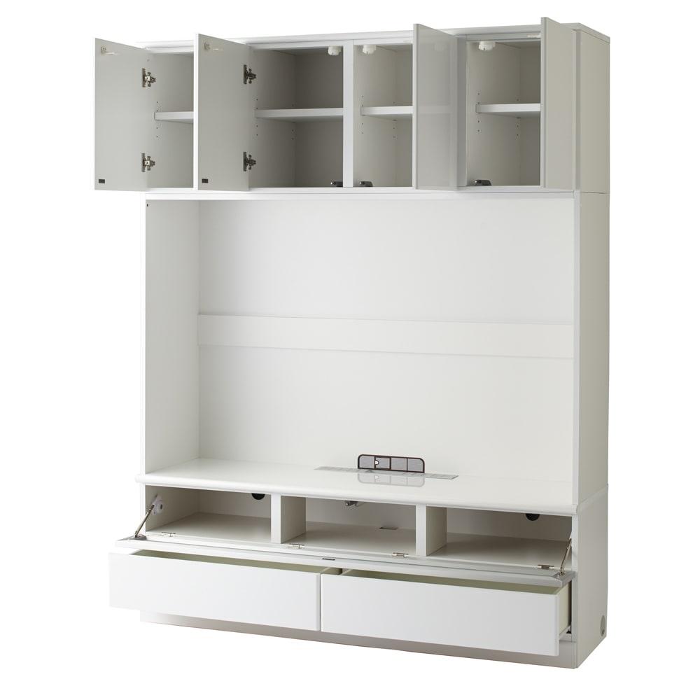 LDK壁面収納(高さ200cm) テレビ台 ミドル 幅155cm (ア)ホワイト(光沢無地)