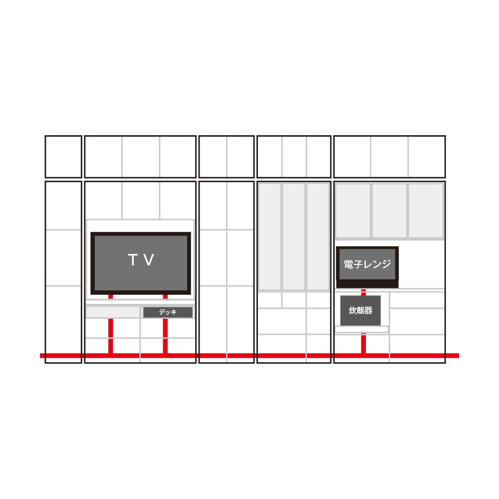 LDK壁面収納(高さ200cm) ダイニングボード ガラス扉 幅121cm 横に並べてもコードがすっきりの内部配線。