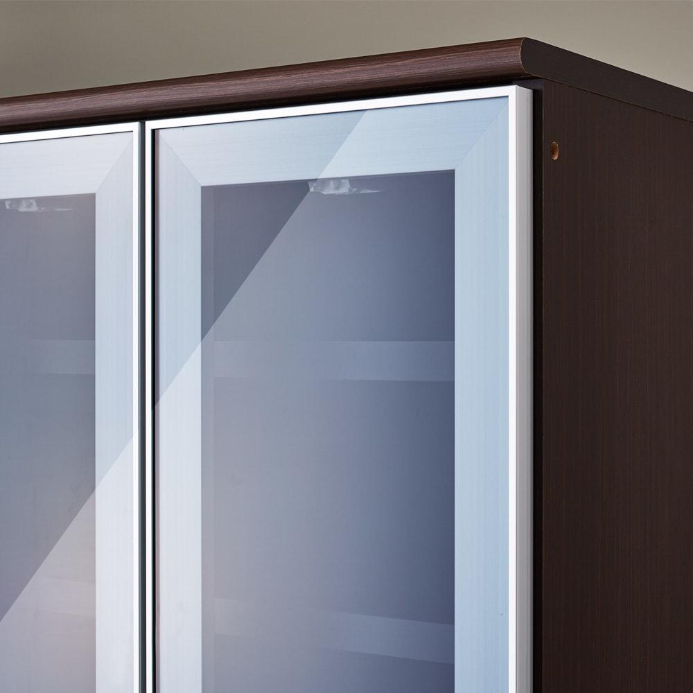 LDK壁面収納(高さ200cm) ダイニングボード ガラス扉 幅121cm (イ)ダークブラウン(木目調)