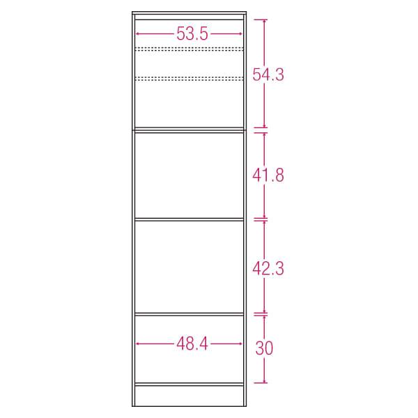 LDK壁面収納(高さ200cm) レンジ収納 板扉 幅58cm 内寸図(単位:cm)