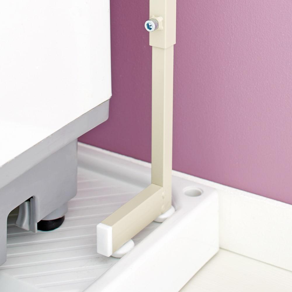 Jussila/ユッシラ ランドリーハンガーラック 棚2段カゴ2個付きタイプ 脚部を防水パンの内側に設置できて省スペース。(※お届けの色とは異なります)