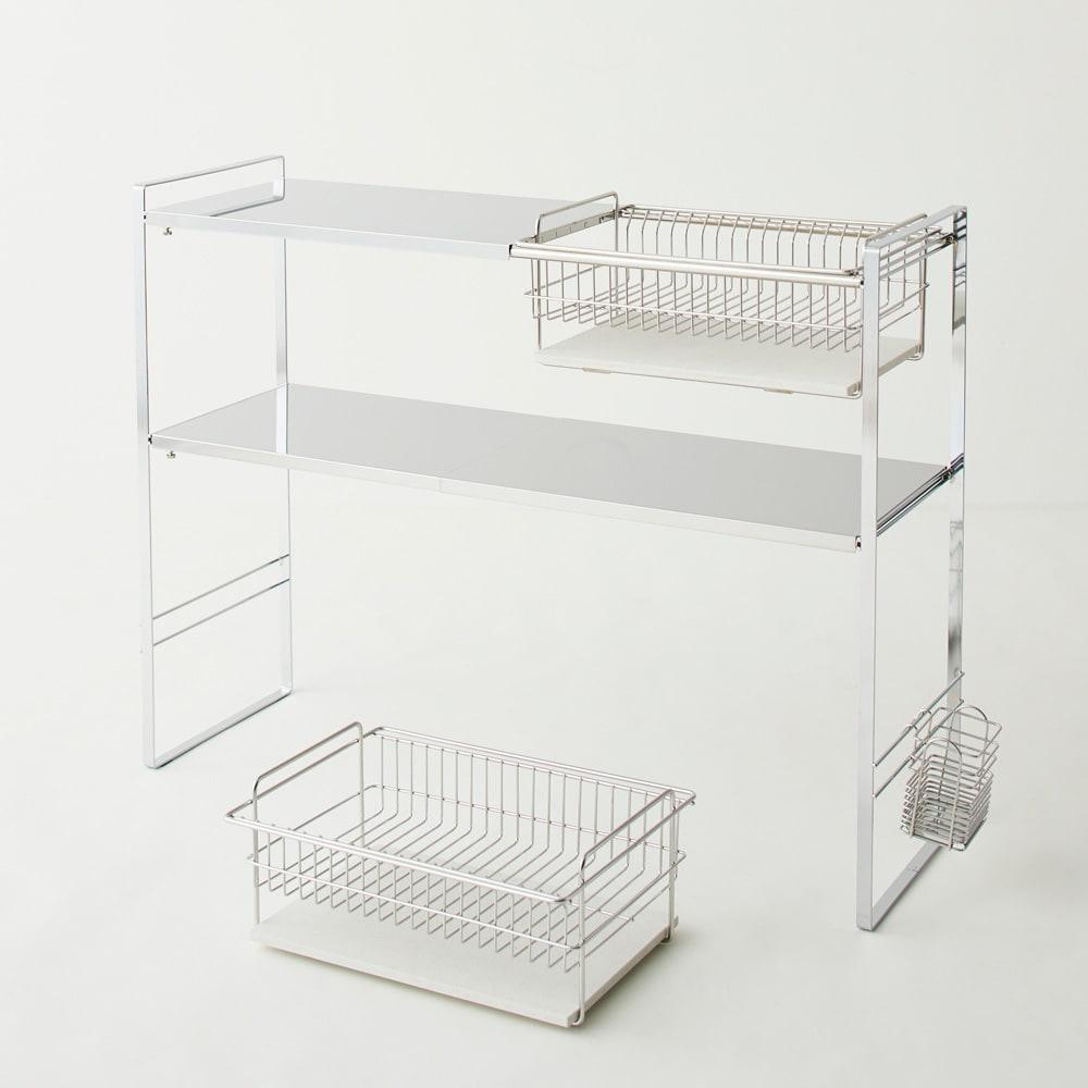 Armin/アルミン モイス付きシンク上ラック 2段 棚板とカゴはお好きにレイアウトできます。カゴを取り外して単体で活用。