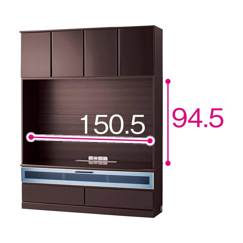 LDK壁面収納(高さ200cm) テレビ台 ミドル 幅155cm (イ)ダークブラウン(木目調)