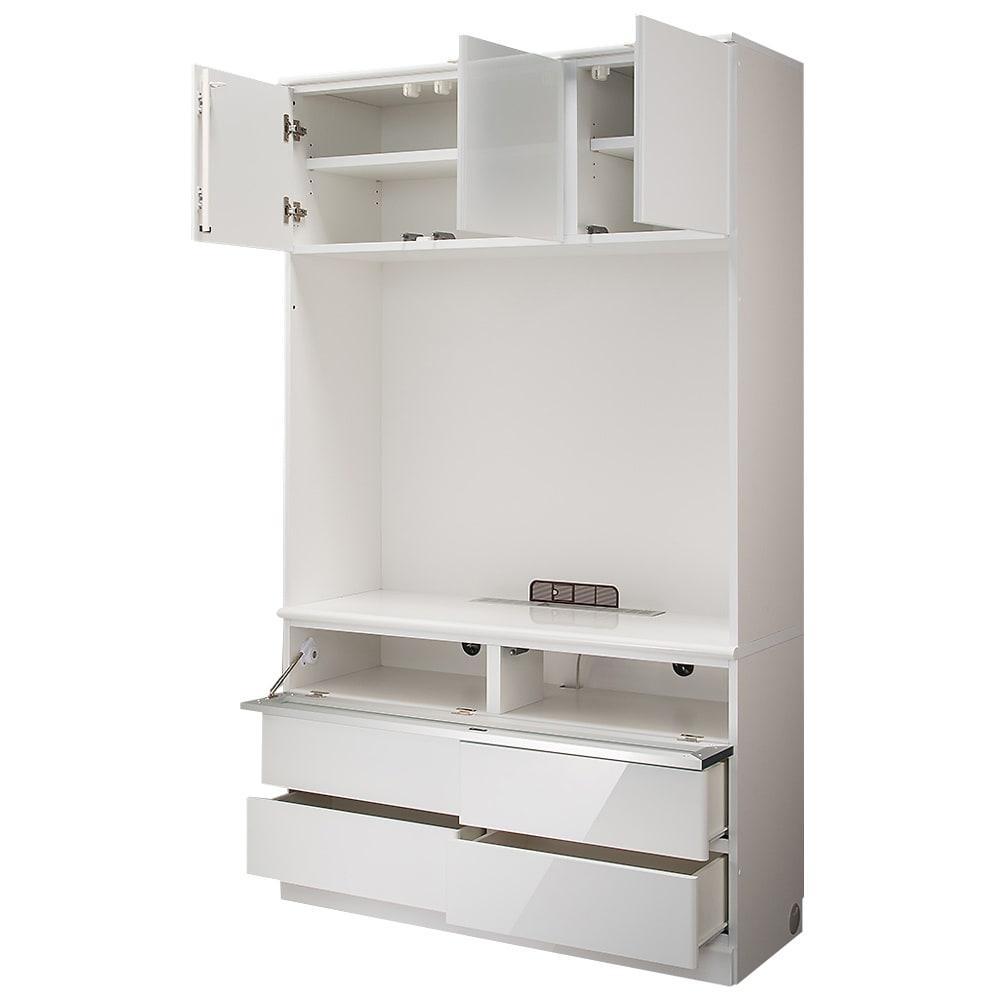 LDK壁面収納(高さ200cm) テレビ台 ハイ 幅121cm (ア)ホワイト(光沢無地)