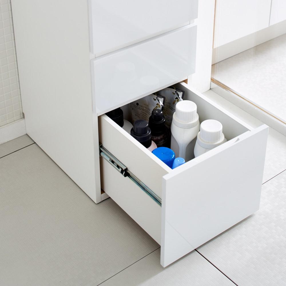 Divario(ディバリオ) すき間収納チェスト 幅25cm 最下段はボトル洗剤や柔軟剤が入る高さのある引き出しです。(※写真は幅40cmタイプ)