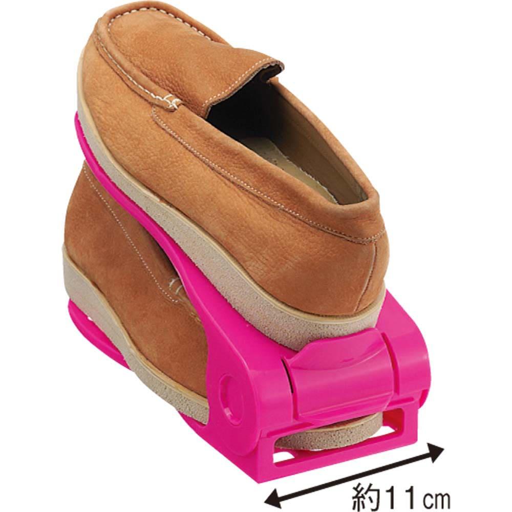 シングルタイプ12足分(12個組)(高さ調節可能なシューズホルダー) ポップなカラーもご用意。(エ)ピンク