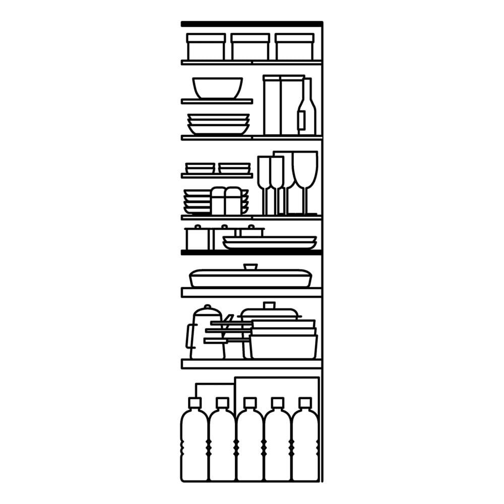 清潔に安心して使える 食器からストックまで入るキッチンパントリー収納庫 幅90奥行55cm 上部のハーフ棚で細かく空間を仕切ることで、ムダになるスペースを極力減らしてたっぷり収納できます。ハーフ棚は前後同じ位置に設置すれば深い奥行を活かして大皿なども収納できます。