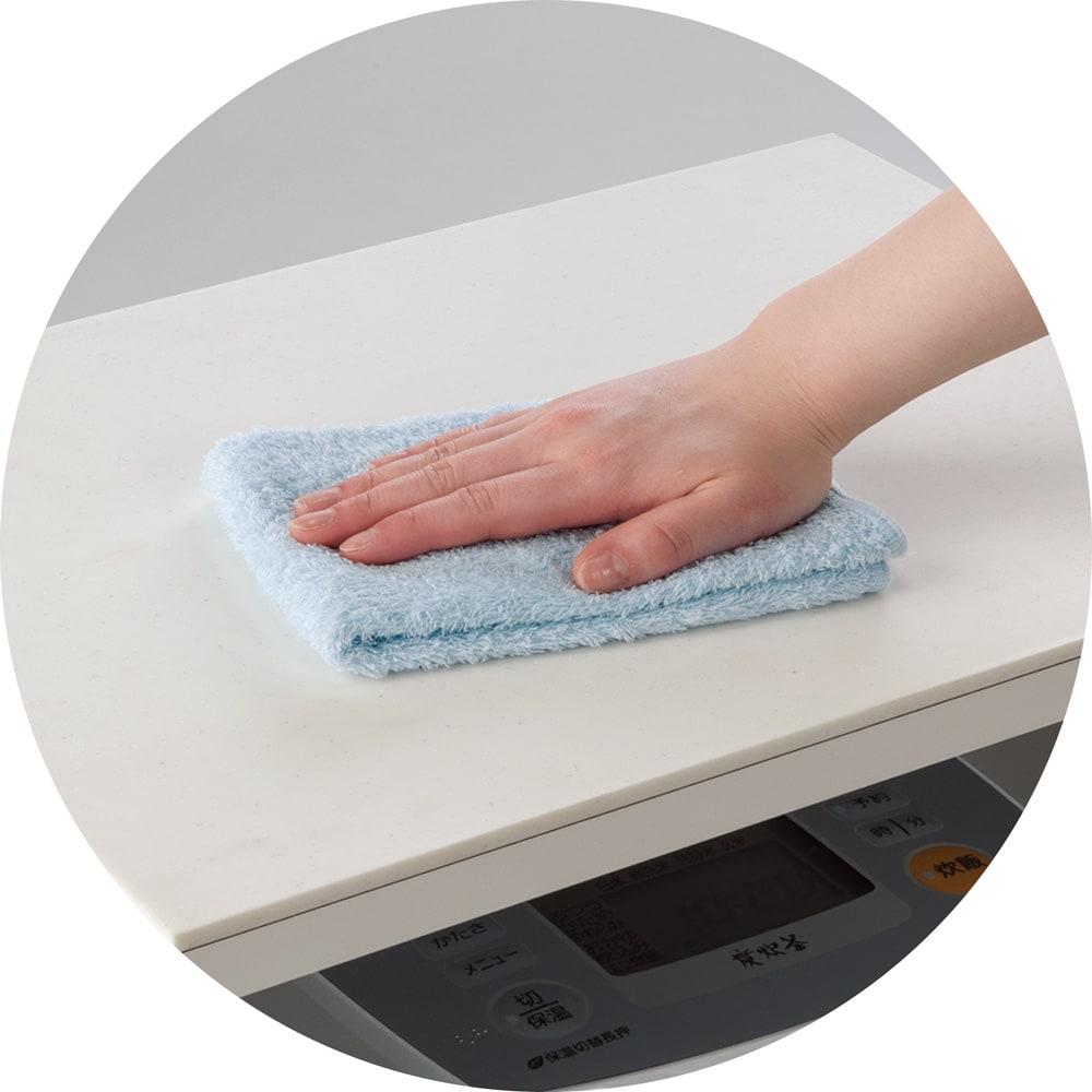 清潔に安心して使える 組み合わせ自在の薄型人工大理石天板カウンター 引き出し幅45cm 高級感がありお手入れも簡単な人工大理石天板。