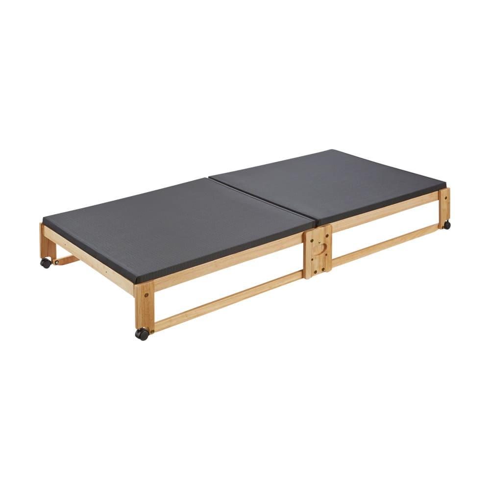 和モダン黒畳折りたたみベッド ロータイプ(高さ27cm) ※写真はシングルです。