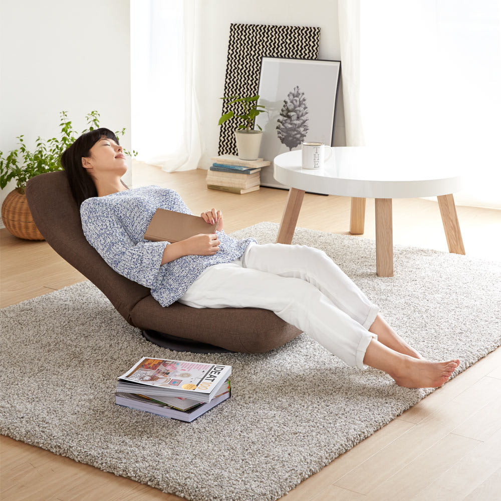 特許を取得した腰に優しい回転座椅子 ハイタイプ (イ)ブラウン