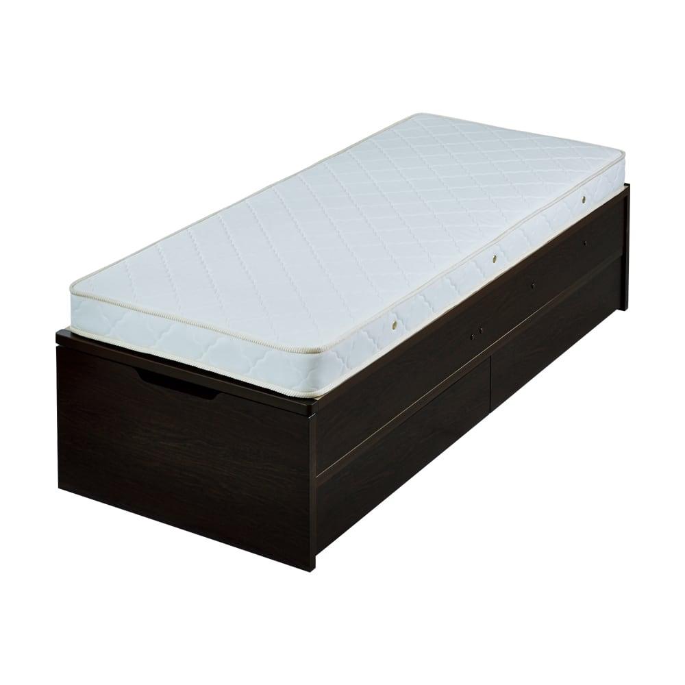 【シングル・西川ポケットマットレス付き】大容量引き出し&ガス圧跳ね上げ収納ベッド (イ)ダークブラウン ※写真はセミシングルです。