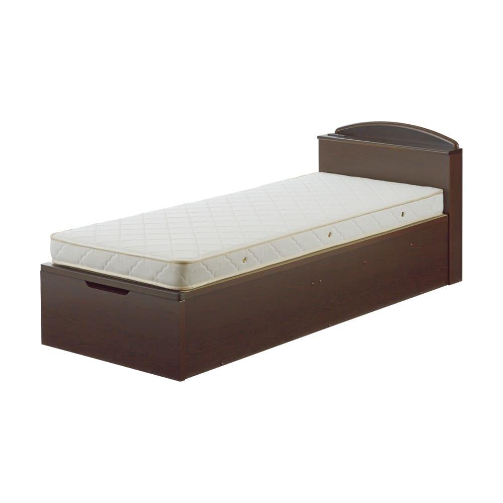ガス圧跳ね上げベッド(西川ベッドポケットコイルマットレス付き) 棚付き【セミダブル】 ※写真はセミシングルサイズです。