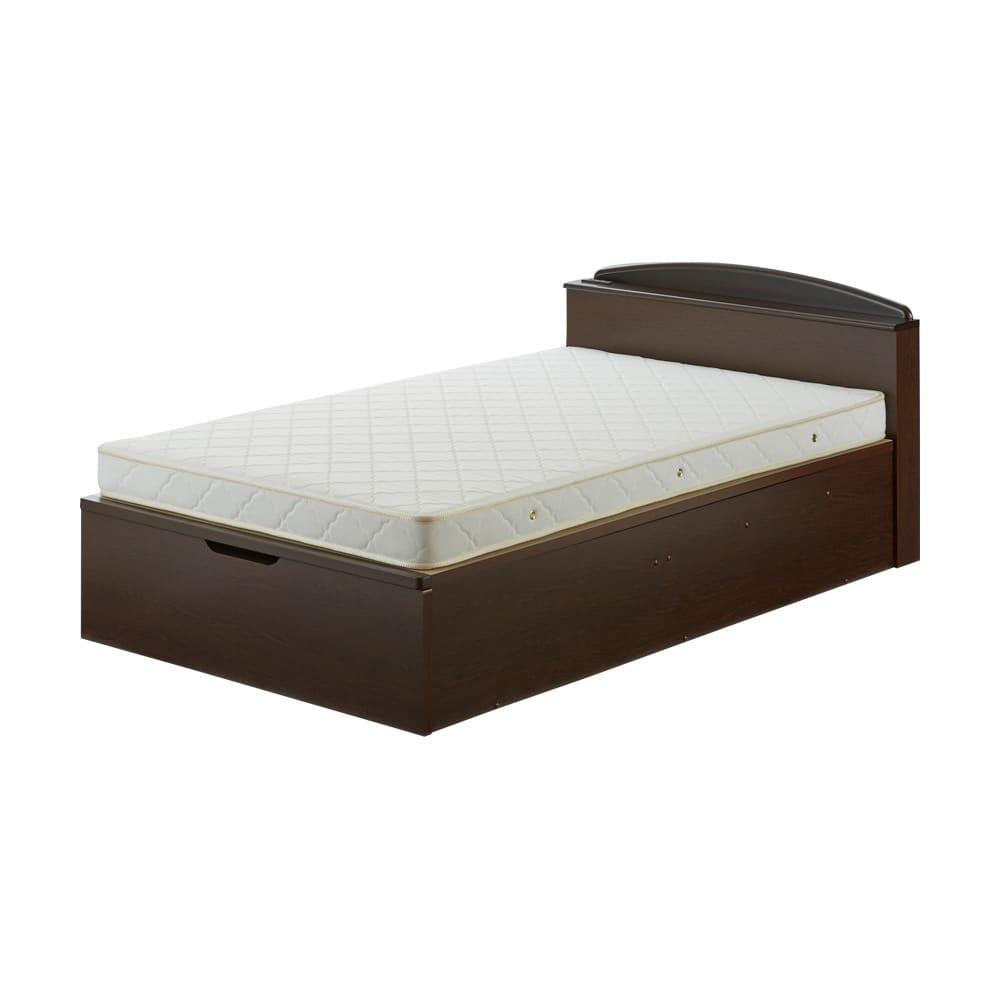 ガス圧跳ね上げベッド(西川ベッドポケットコイルマットレス付き) 棚付き【セミダブル】 ※写真はセミダブルサイズです。