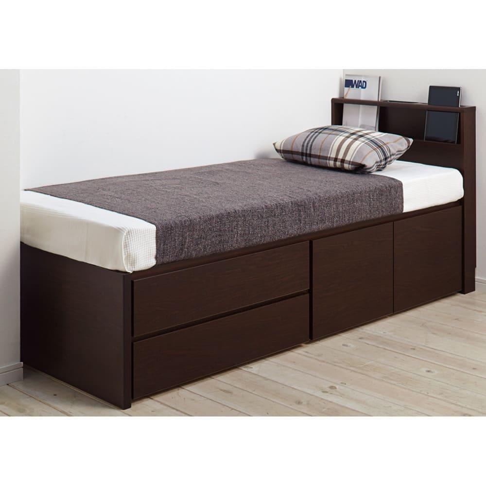 西川マットレス付き棚付省スペースベッド(ショート/レギュラー) 狭くて細い空間やハリのある場所にもぴったりのサイズが選べます。 (イ)ダークブラウン ※写真はショート・幅76cmです。