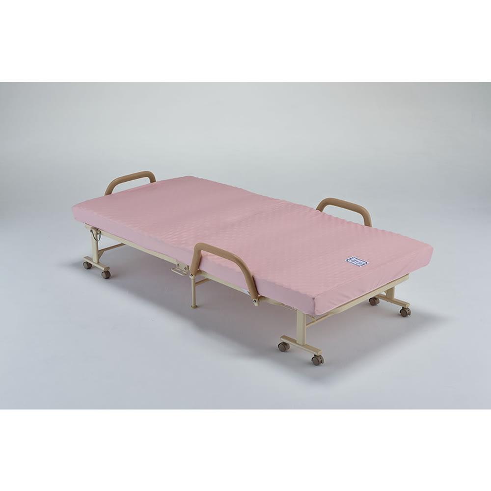 収納式リクライニングベッド グリップ付き