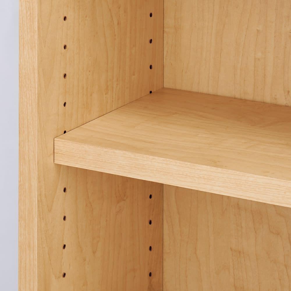 棚板の位置が選べる本棚(幅90cm本体高さ180cm) 棚板は3cm間隔で高さ調節が可能。