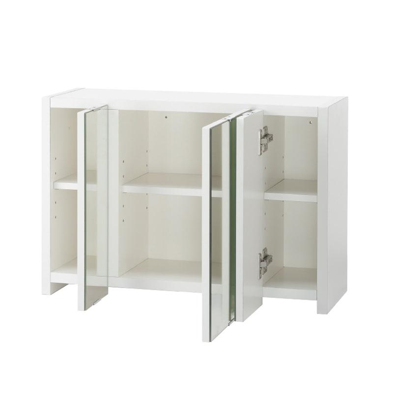 どこでもドレッサースペースにできる 三面鏡付き吊り戸棚 幅59cm 狭い場所にも設置しやすい幅59cm。