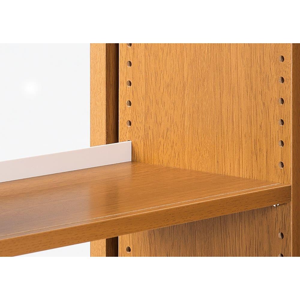 本格派 スライド収納書棚 幅広2列+幅狭1列 幅98cm 可動棚板アップ…棚板は1.5cm間隔で高さ調節が可能。収納物に合わせて細かく調整できます。