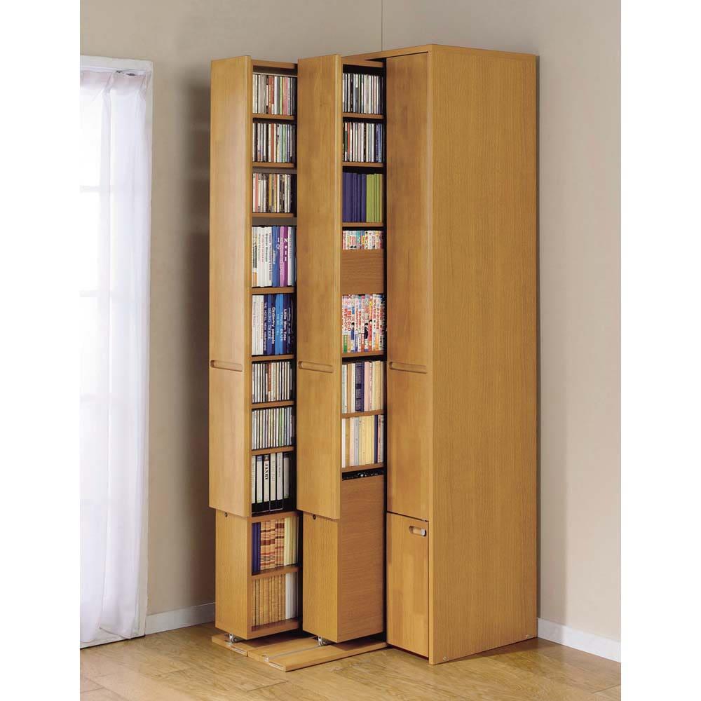 本格派 スライド収納書棚 AV収納庫 2列 幅44cm(コミック・文庫本・CD・DVD対応) 同シリーズ商品:(イ)ナチュラル ※写真は3列タイプです。