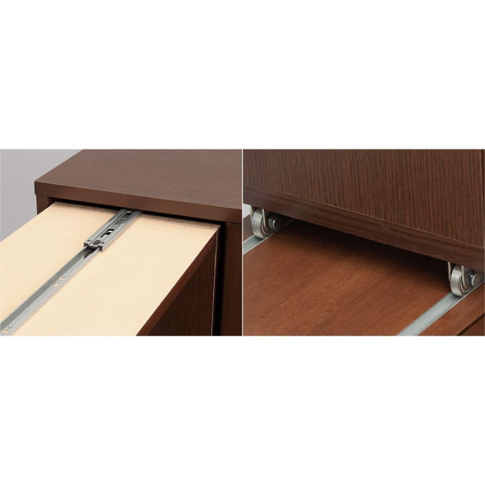 本格派 スライド収納書棚 AV収納庫 3列 幅64cm(コミック・文庫本・CD・DVD対応) レールアップ…(写真左)書庫の上部にあるスライドレールが横揺れを防ぎます。(写真右)床に跡やキズをつける心配のない構造です。