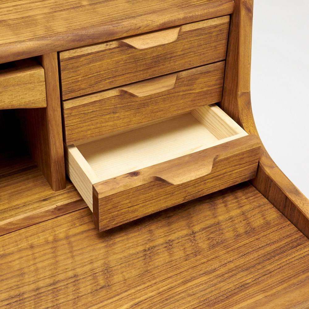EDDA/エッダ リビングシリーズ ライティングビューロー(机) 天板上の右側は小引き出し3杯付きで細かい筆記用具やメイク小物の収納に