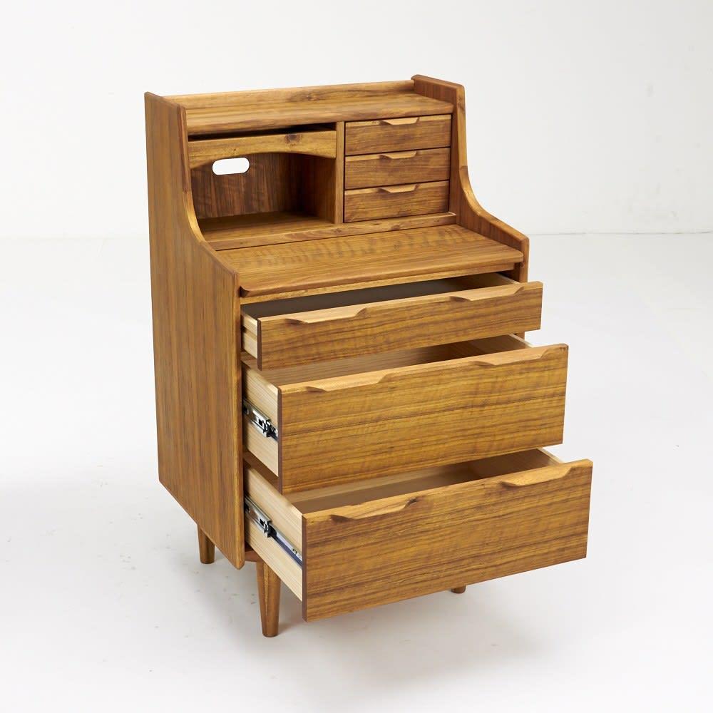 EDDA/エッダ リビングシリーズ ライティングビューロー(机) 大容量の引き出し3段付きです