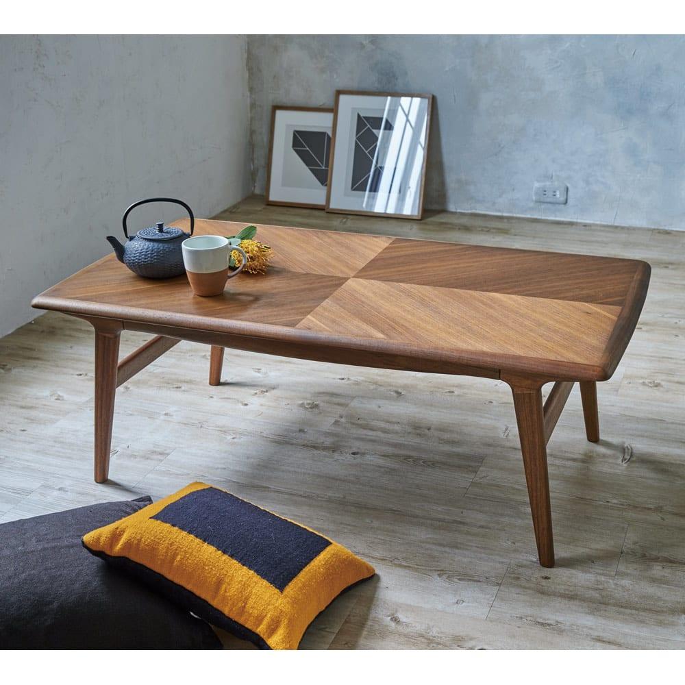 Chapter/チャプター リビングテーブル センターテーブル 天板の矢羽根の木目が印象的なローテーブル